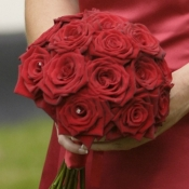 Bridesmaid hand tied bouquet of Grand Prix Roses