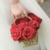 Flower girl basket of Grand Prix Roses