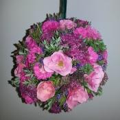 Flower girls pomander of wild Roses, Hebe and Viburnum